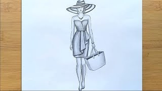 How to draw a Girl (full body ) with a hat - step by step    Pencil sketch