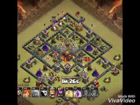 town hall 9 vs 10 ware attack for3 star to valkyrie or golem attack