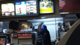 McDonald's cashier beating in slow motion