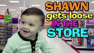 BABY SHAWN POOPS IN BATHTUB 😢 + GOES SHOPPING @ TARGET 😃 (FUNnel Vision Baby Gone Wild Vlog)