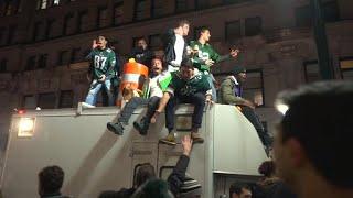Philadelphia Eagles fans get rowdy after Super Bowl victory