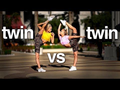 Twin vs Twin 10 Minute Acro Challenge in Vegas Rybka Twins