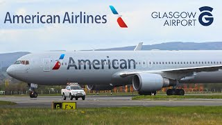 Heavy Emergency Landing American 767 at Glasgow Airport RARE !!!