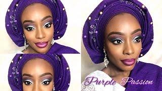 PURPLE PASSION NIGERIAN ENGAGEMENT BRIDAL MAKEUP & GELE