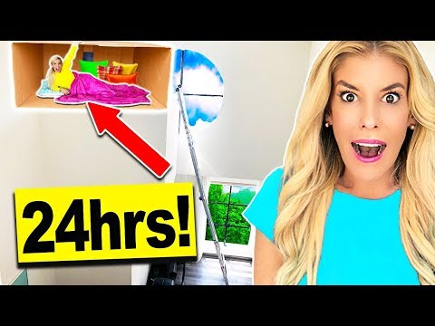 24 HOURS in a Tiny SECRET FORT in my Living Room! (20ft High)