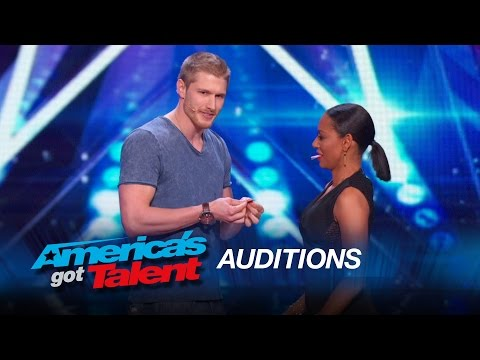Michael John Sexy Magician Tries to Kiss Mel B America s Got Talent 2015
