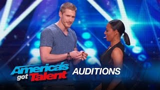 Michael John: Sexy Magician Tries to Kiss Mel B - America's Got Talent 2015