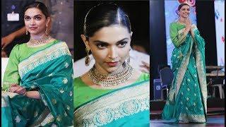 Deepika Padukone Looks Gorgeous In Green Banarasi Saree At Padmavati Promotion