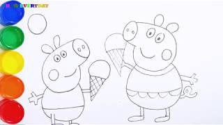 How To Draw and Color Glitter the Peppa pig so nice for kids || Draw EveryDay