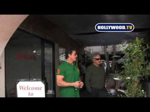 Arnold Schwarzenegger and Sylvester Stallone at Caffe Roma