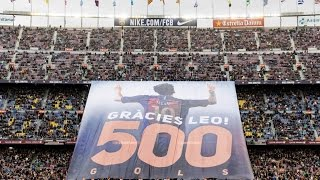 Camp Nou tribute banner to congratulate Messi on his 500 goals
