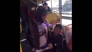 A boy removed underwear of a girl in a public bus
