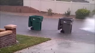 Garbage collection garbage truck videos for children: Garbage Cans rolling down the road.