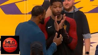 LeBron James & Tristan Thompson Have Fun During the Break | Lakers vs Cavaliers