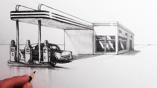 How to Draw a Building in 1-Point Perspective: Draw a Gas Station