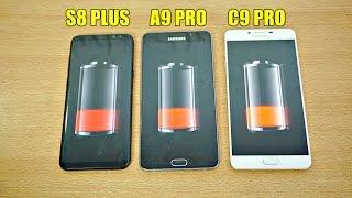 Samsung Galaxy S8 Plus vs A9 Pro vs C9 Pro - Battery Drain Test! (4K)