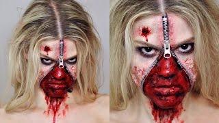 Unzipped Zipper Face SFX Makeup Tutorial   Halloween