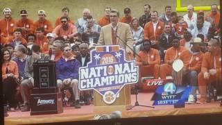 Clemson Tigers National Champions parade speech.