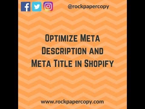 Optimize Meta Description and Meta Title in Shopify Tutorial