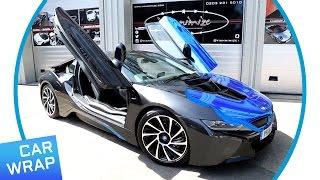 BMW i8 wrapped Chrome Blue for BMW i Park Lane