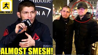 Khabib almost landed on Leonardo DiCaprio during UFC 229 Post Fight Antics,Ali on Conor McGregor