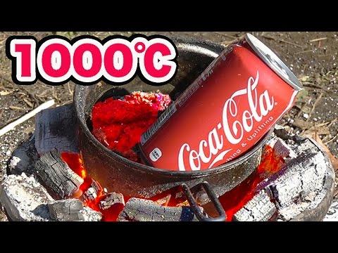 1000℃のマグマにコーラ缶入れてみた!【危険】