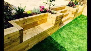 Garden Levelling, Retaining Wall, Stairs, Benches From Railway Sleepers