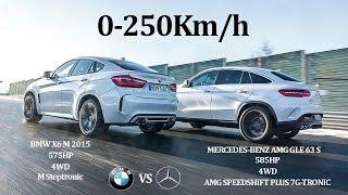 BATTLE!! BMW X6 M 2015 575Hp Vs MERCEDES BENZ AMG GLE63 S 2015 585Hp - 4WD Vs 4WD