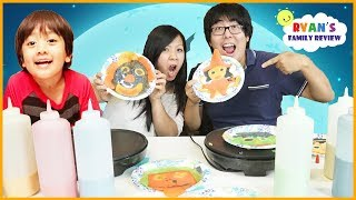 PANCAKE ART CHALLENGE Halloween edition! Mommy vs Daddy Learn to make DIY Pancakes Art