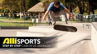 How to Nollie Backside 180, Carlos De Andrade, Alli Sports Skateboard Step By Step Trick Tips