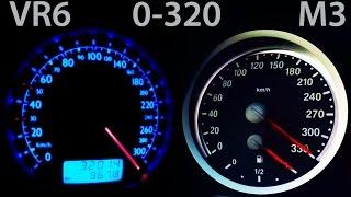 BMW M3 vs VW Bora VR6 0-320 Acceleration Onboard Autobahn G-Power vs Turbo Gockel Kompressor E90 E92