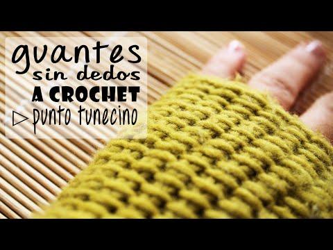 Guantes sin Dedos Mitones a Crochet Punto Tunecino Paso a Paso