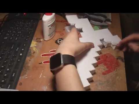 How to make Minecraft Paper Sword hand made Меч из бумаги сделать