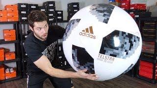 WORLD'S BIGGEST REAL SOCCER BALL! - JUMBO Adidas Telstar 18 Match Ball - Review