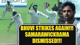India vs SL 1st test 3rd day : Bhuvneshwar Kumar strikes again, Samarawickrama out   Oneindia News