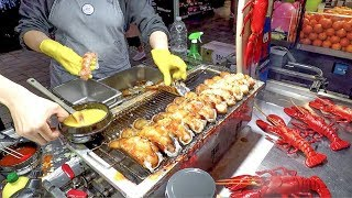 Roasting LOBSTER TAILS with Melted Cheese. Korea Street Food in Myeongdong, Seoul
