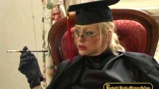 Smoking Schoolmistress Hellena show her luscious stockings.