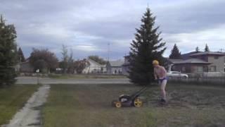 Kid Mow's Lawn In A Speedo!