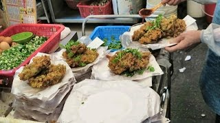 Hong Kong Street Food. Making  a Fried Oysters Cake. Seen in Kowloon