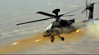 AH-64 Apache Helicopter In Action - AH-64 Apache Airstrikes, AH-64 Firing At Tanks, Apache FLIR