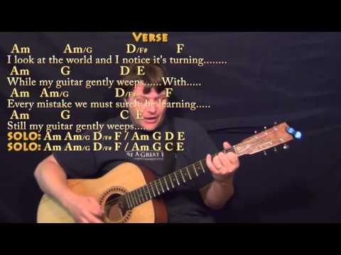 While My Guitar Gently Weeps (Beatles) Strum Guitar Cover Lesson with ChordsLyrics