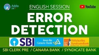 SBI CLERK PRE, CANARA BANK, SYNDICATE | Error Detection | English