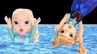 FROZEN Elsa & Anna toddlers Pool Party -  FROZEN Anna accident in Swimming Pool - Floaties Pool Fun