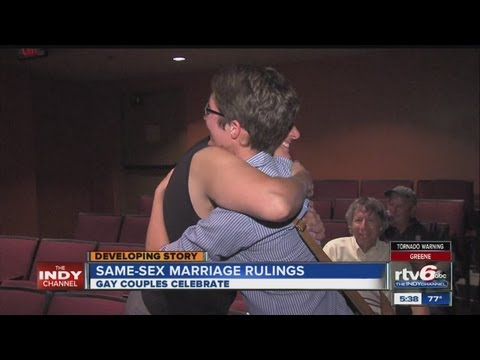 Gay couples celebrate same-sex marriage rulings