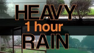 'Heavy Rain Sounds' 1 Hour of 4 Different Rain Storms at the Same Time