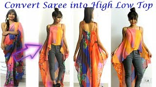 DIY: Convert Old Saree into High-Low Layer TOP only in 5 minutes/ Easy & Quick