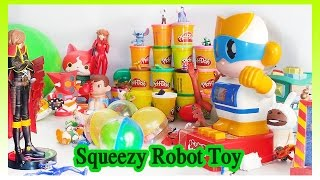 Squeezy Robot Toy - Play doh - surprise eggs - ball background with collection toys for kids playing