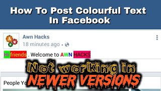 How to post colour text in facebook. Write colourful text