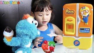 파랑이가 더위 먹었어요! 뽀로로 아기 냉장고 장난감 놀이 LimeTube & Toy 라임튜브