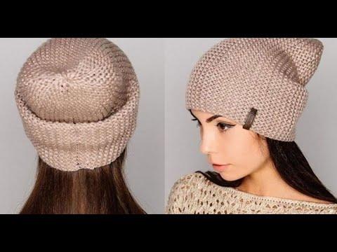 Как связать шапку спицами для женщины бини